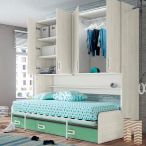 Cama abatible con sofá y armarios · Dormitorio Juvenil · Dormitorios · Camas abatibles · MLC Muebles · Tienda de muebles · Tienda online · Tienda de muebles en Tenerife · Canarias