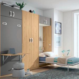 Camas abatible con escritorio abatible y armario · Dormitorio Juvenil · Dormitorios · Camas abatibles · MLC Muebles · Tienda de muebles · Tienda online · Tienda de muebles en Tenerife · Canarias